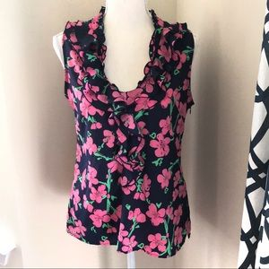 Lilly Pulitzer navy flowered sleeveless top